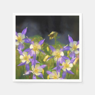 Colorado Blue Columbine Painting - Original Art Paper Napkin