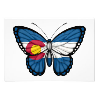 Colorado Butterfly Flag Personalized Invitations