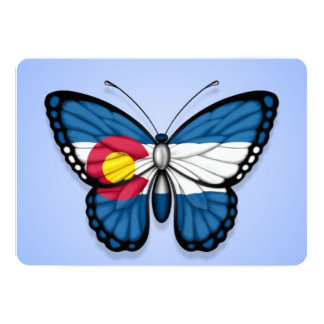 Colorado Butterfly Flag on Blue Personalized Announcement