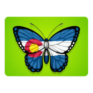Colorado Butterfly Flag on Green Personalized Announcement