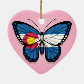 Colorado Butterfly Flag on Pink Christmas Ornament