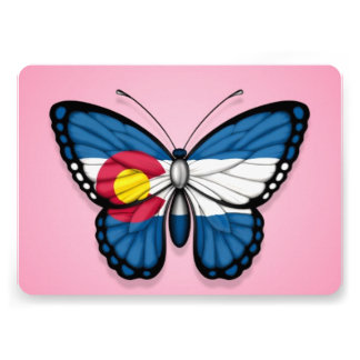 Colorado Butterfly Flag on Pink Announcements