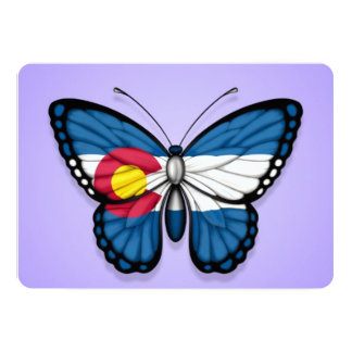 Colorado Butterfly Flag on Purple Personalized Invitations