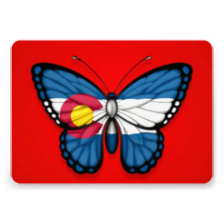 Colorado Butterfly Flag on Red Personalized Announcement