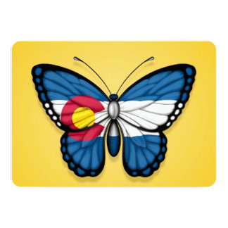 Colorado Butterfly Flag on Yellow Personalized Announcement