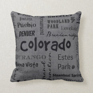 Colorado cities in grey/black cushion