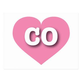 Colorado CO pink heart Postcard