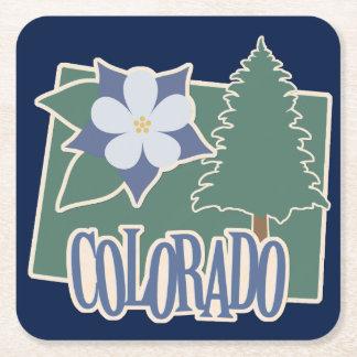 Colorado Columbine Green Blue Square Paper Coaster