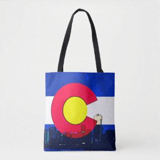 Colorado Denver skyline print all over tote bag