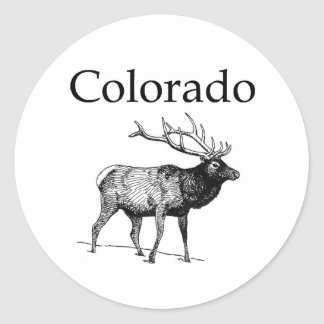Colorado Elk (line art) Classic Round Sticker