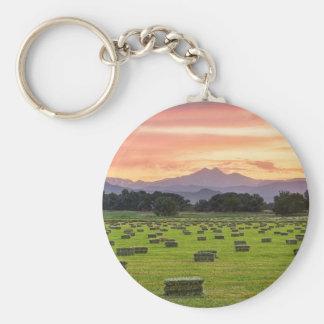 Colorado_Farmers_Burning_Sunset Basic Round Button Key Ring