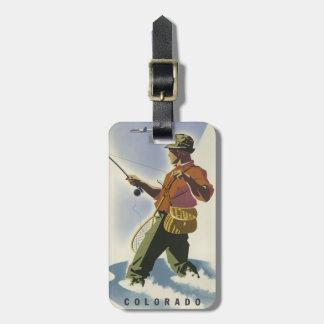 Colorado Fisherman Vintage Travel luggage tag