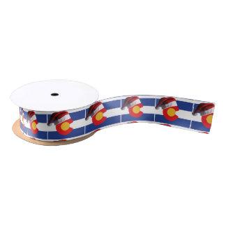 Colorado-Flag-and-Santa-Hat Satin Ribbon