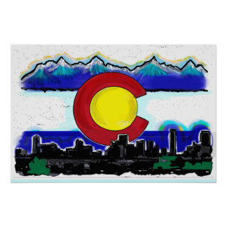Colorado flag artistic denver skyline poster