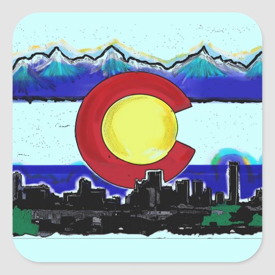 Colorado flag denver skyline artistic stickers