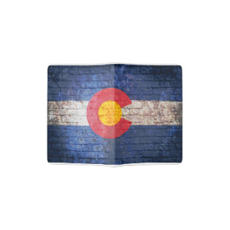 Colorado flag grunge brick wall passport holder
