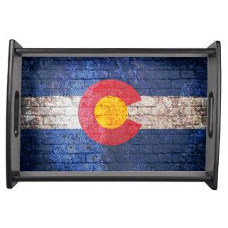 Colorado flag grunge brick wall serving tray