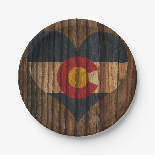 Colorado Flag Heart on Wood theme 7 Inch Paper Plate