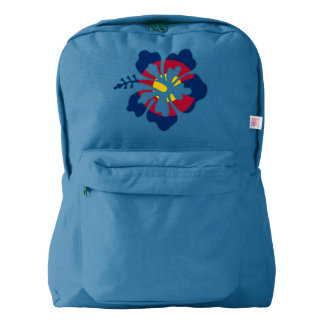 Colorado flag hibiscus flower backpack