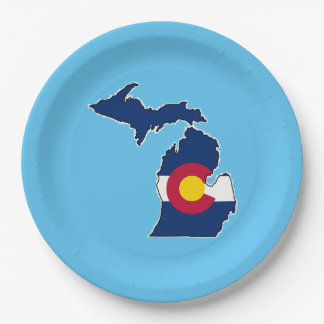 Colorado flag Michigan outline paper plates
