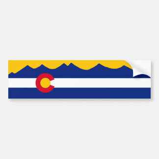 Colorado Flag & Mountain Range Bumper Sticker