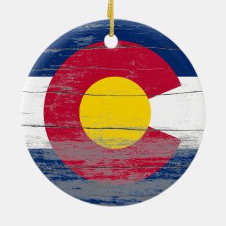 Colorado Flag Old Paint Ornament