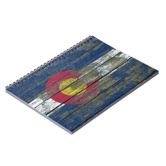 Colorado Flag on Rough Wood Boards Effect Spiral Notebook