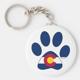 Colorado flag paw print round keychain