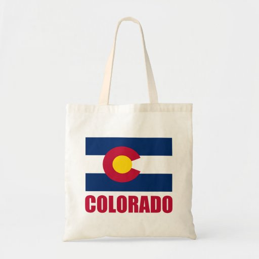 Colorado Flag Red Text Tote Bag