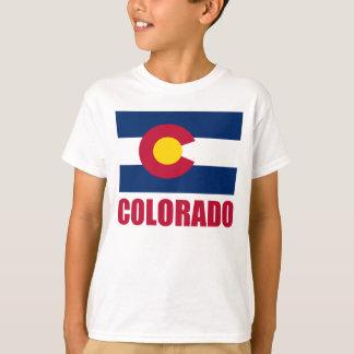 Colorado Flag Red Text T-Shirt