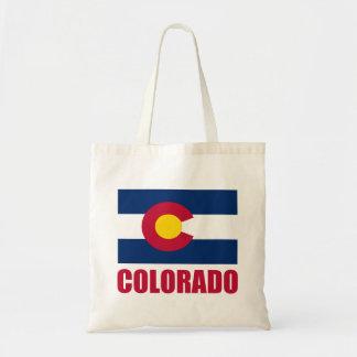 Colorado Flag Red Text Budget Tote Bag