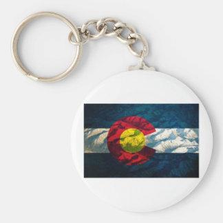 Colorado flag Rock Mountains Basic Round Button Key Ring
