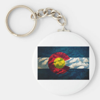 Colorado flag Rock Mountains Key Ring