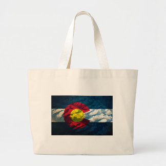 Colorado flag Rock Mountains Large Tote Bag