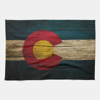 Colorado Flag Rustic Old Wood Tea Towel