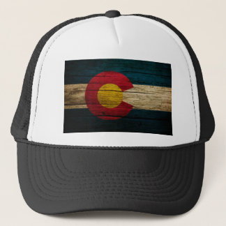 Colorado Flag Rustic Old Wood Trucker Hat