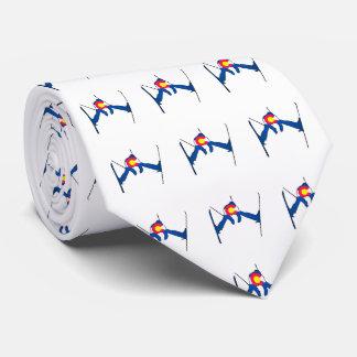 Colorado flag skier pattern necktie