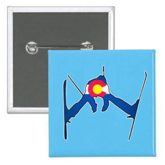 Colorado flag skier square button