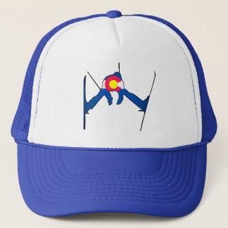 Colorado flag skier trucker hat