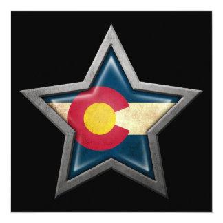 Colorado Flag Star on Black Custom Invitations