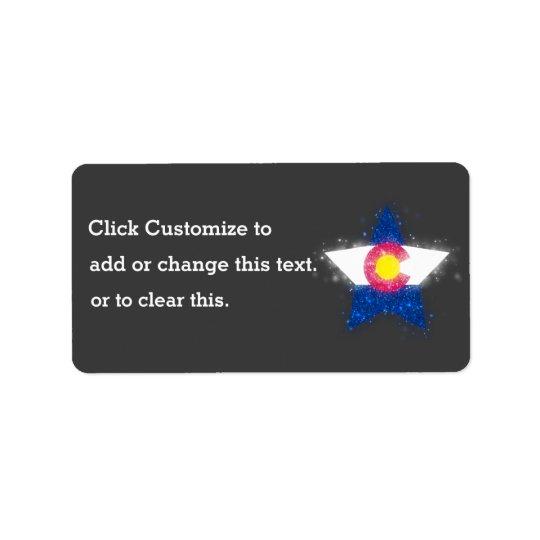 Colorado Flag Star Shining Label
