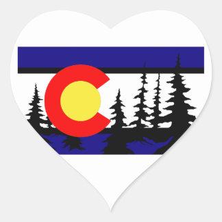 Colorado Flag Tree Silhouette Heart Sticker