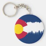 Colorado Flag Treeline Silhouette Basic Round Button Key Ring