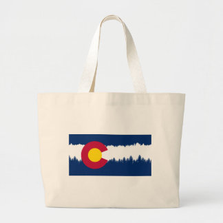 Colorado Flag Treeline Silhouette Large Tote Bag