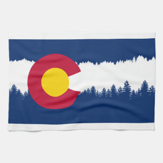 Colorado Flag Treeline Silhouette Tea Towel