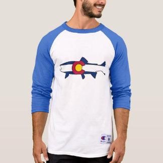 Colorado flag trout fish blue reglan shirt
