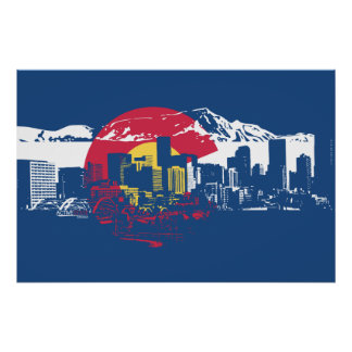 Colorado Flag with Denver Skyline and Rockies Poster