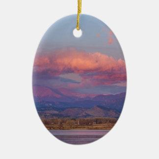 Colorado Front Range Longs Peak Full Moon Sunrise Christmas Ornament