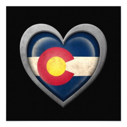 Colorado Heart Flag with Metal Effect Personalized Announcement