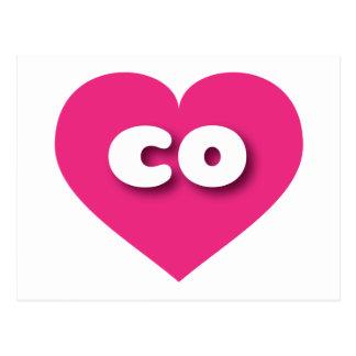 Colorado hot pink heart - mini love postcard